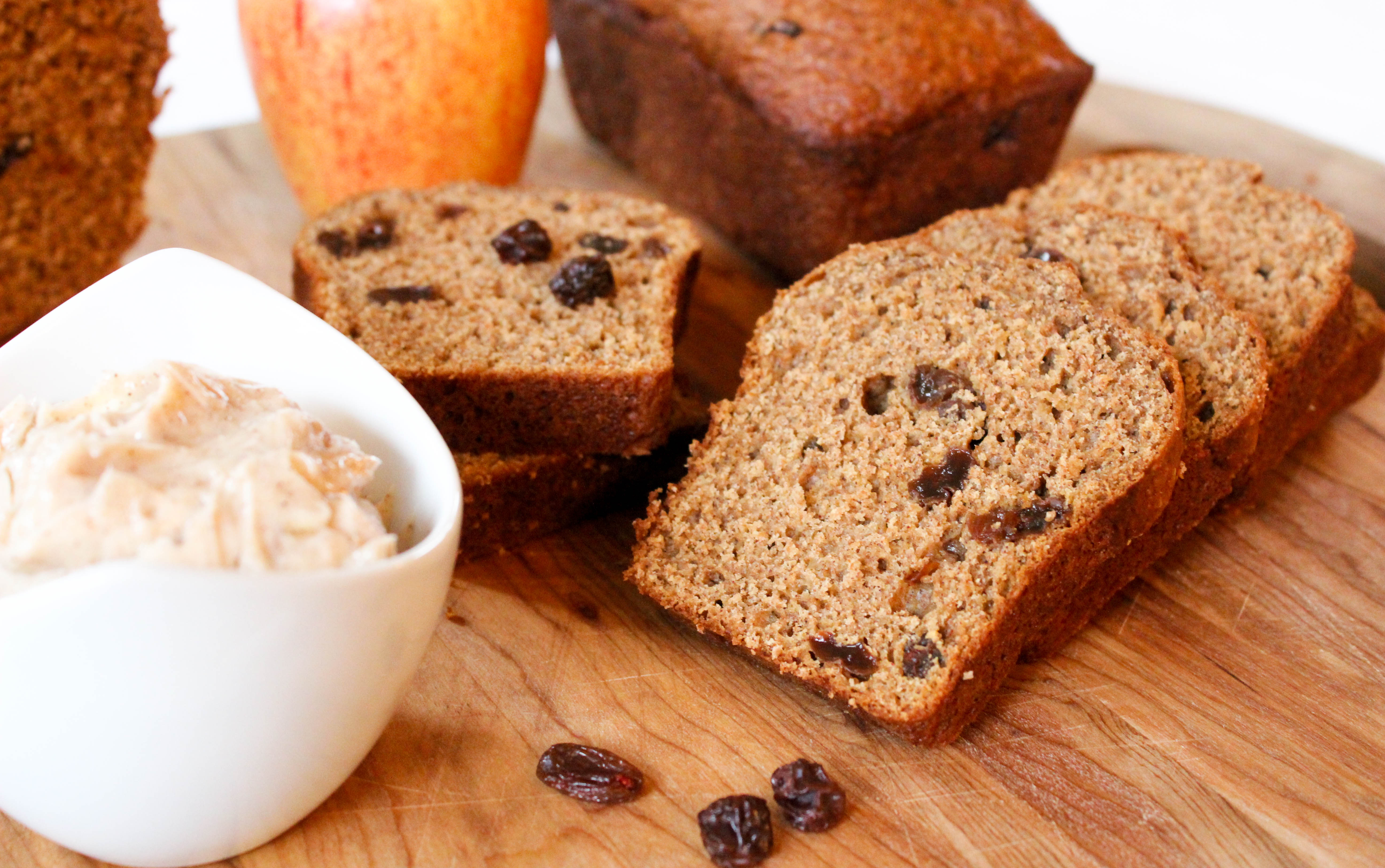 Apple Raisin Bread with Cinnamon Honey Butter