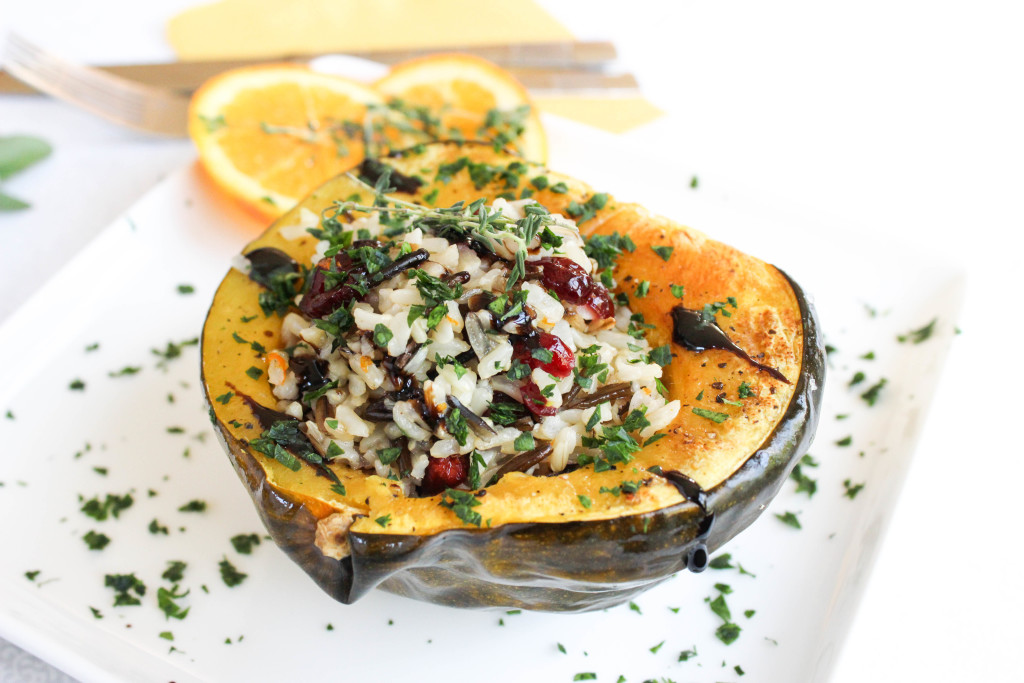 Wild Rice and Cranberry Stuffed Acorn Squash