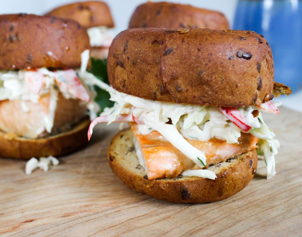 Salmon Sliders with Garlic Slaw