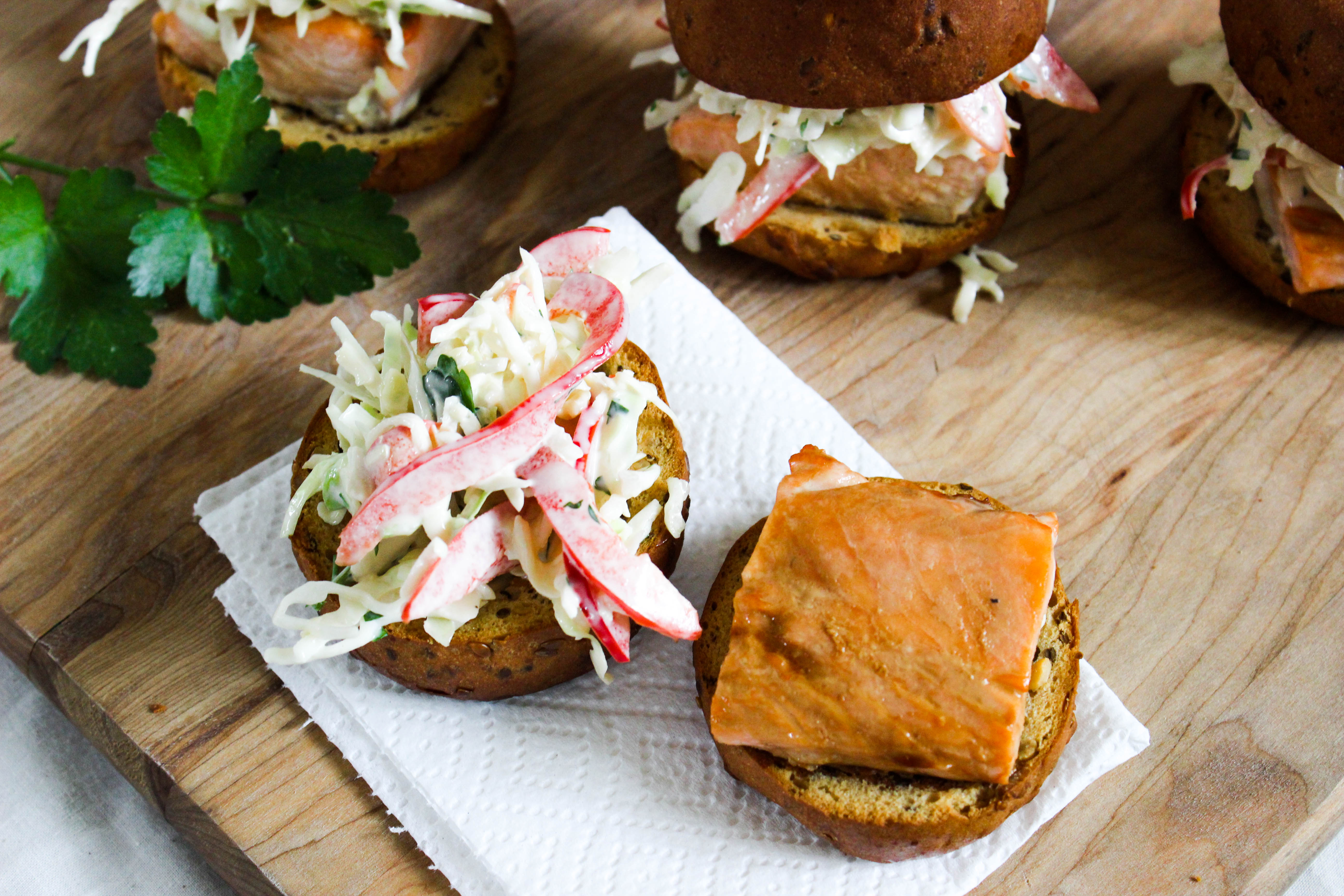 Salmon Sliders with Garlic Slaw