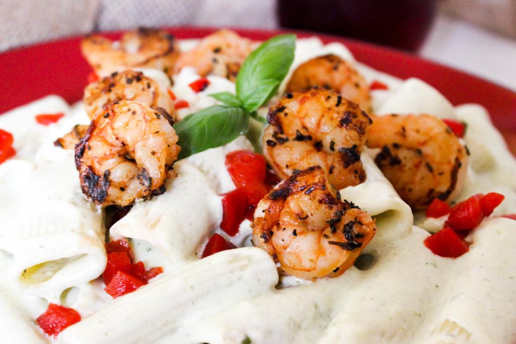 Basil Cream Rigatoni with Shrimp