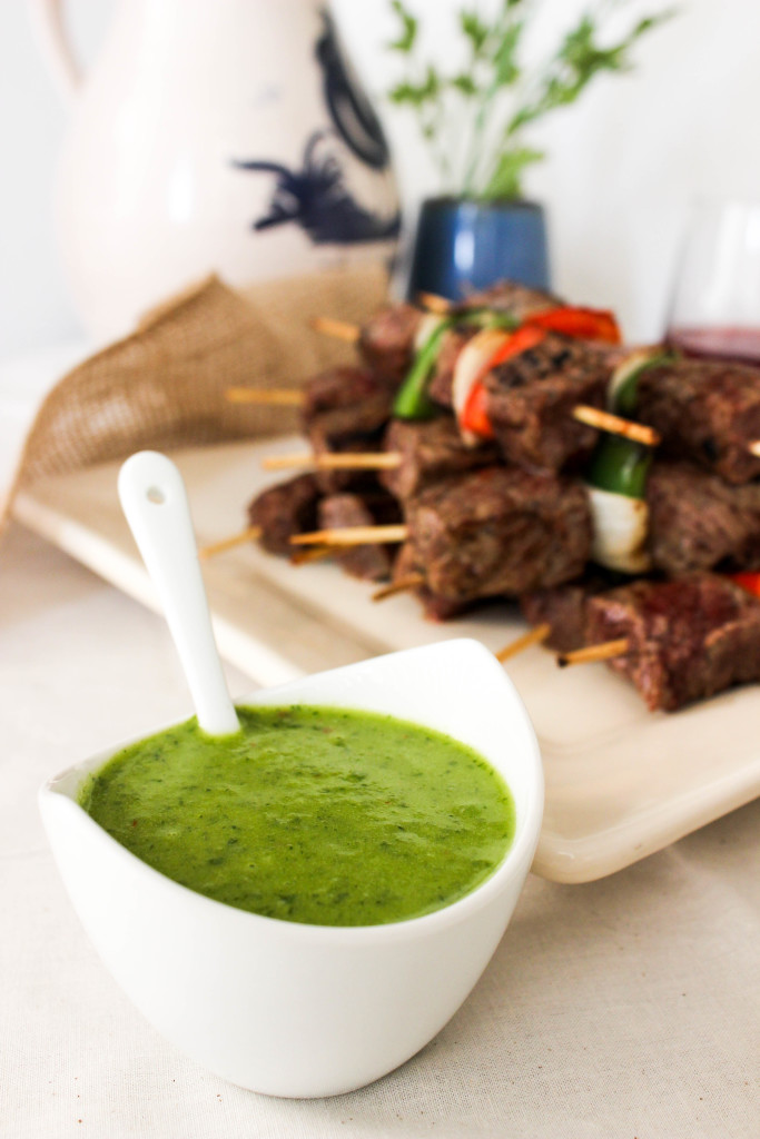 Steak Kabobs with Chimichurri Sauce
