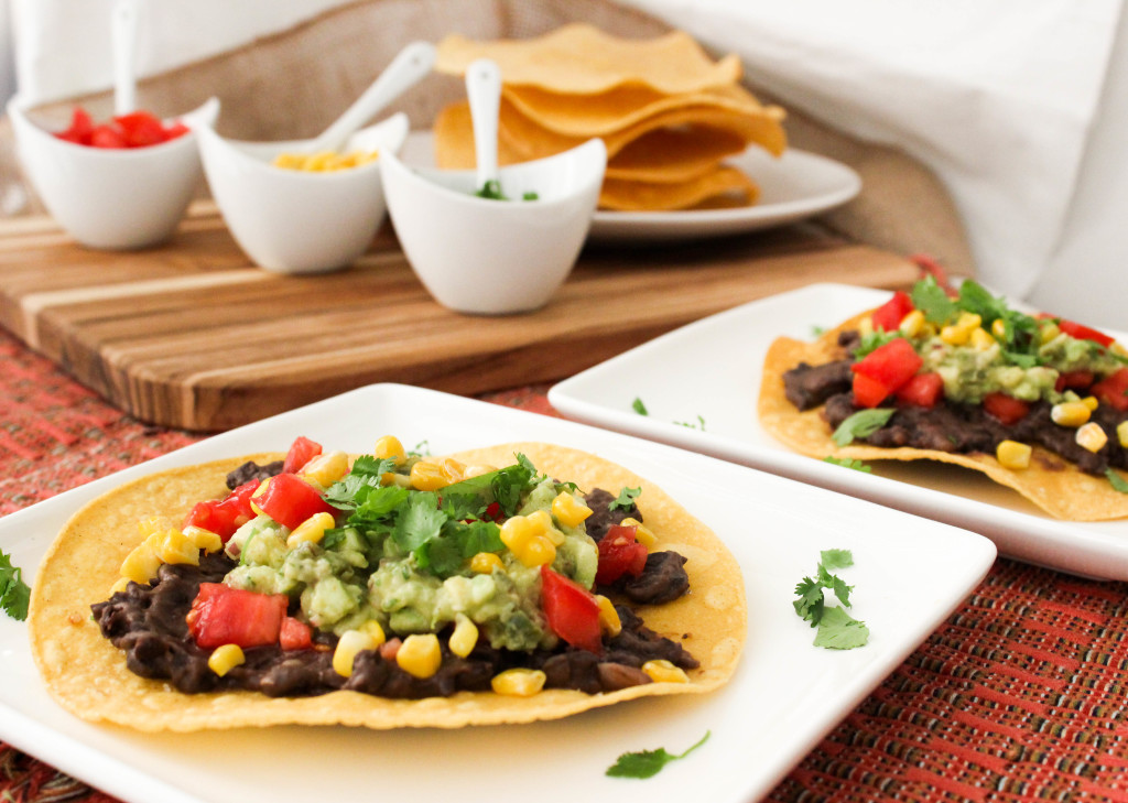 Spiced Black Bean and Roasted Jalapeno Guac Tostadas