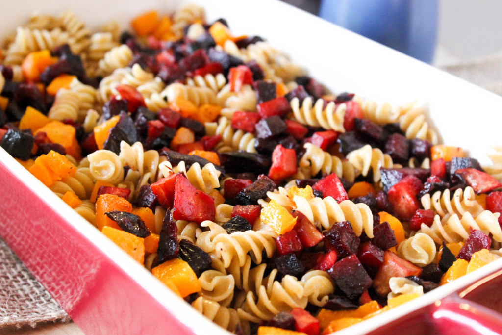 Roasted Fall Veggie Pasta with a Sage Cream Sauce