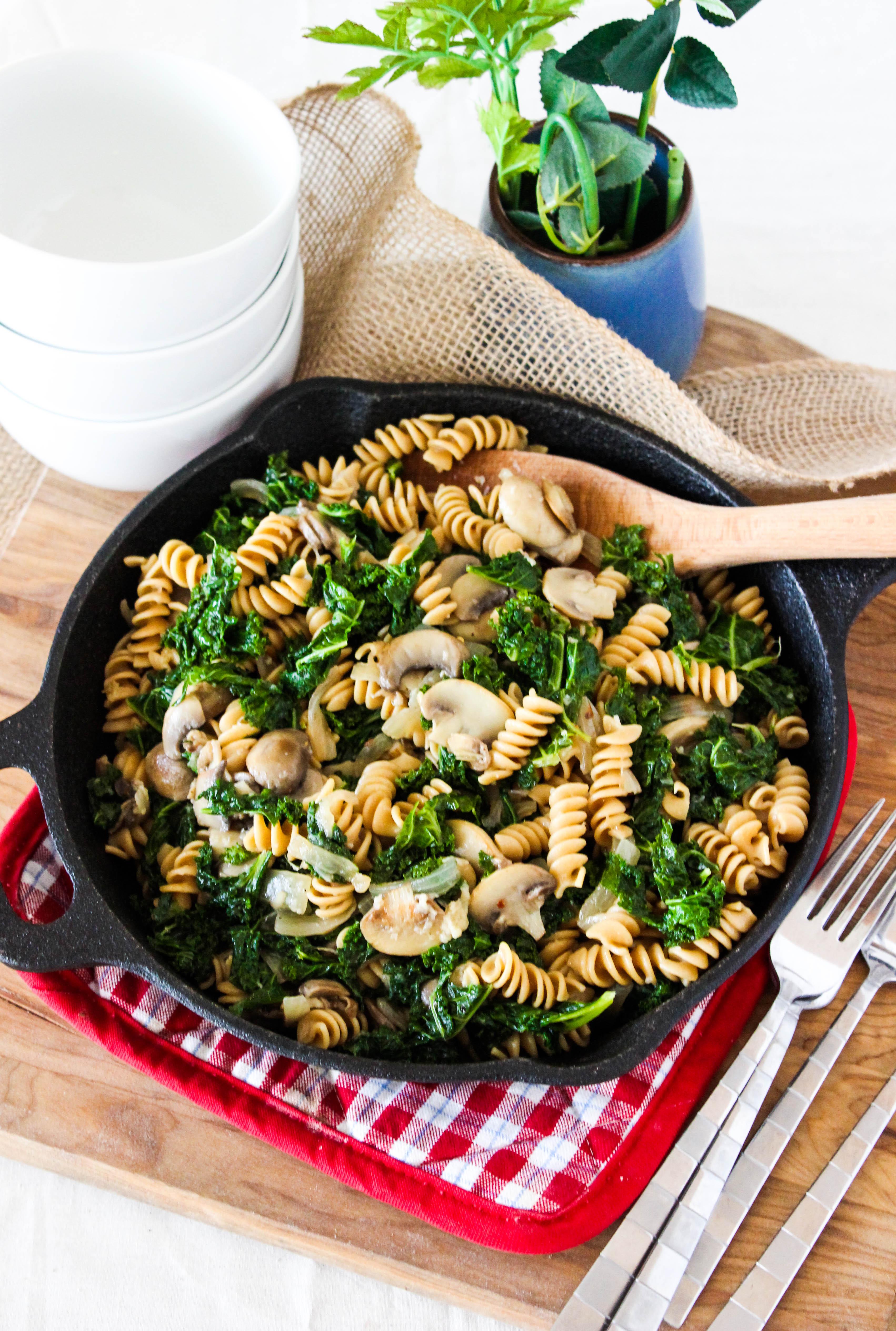Kale and Mushroom Skillet Pasta