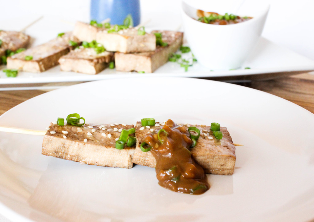 Sesame Ginger Tofu Skewers with Peanut Dipping Sauce