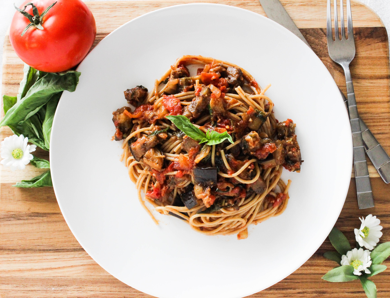 Pasta alla Norma - Eggplant Tomato Pasta - Good Habits and Guilty ...