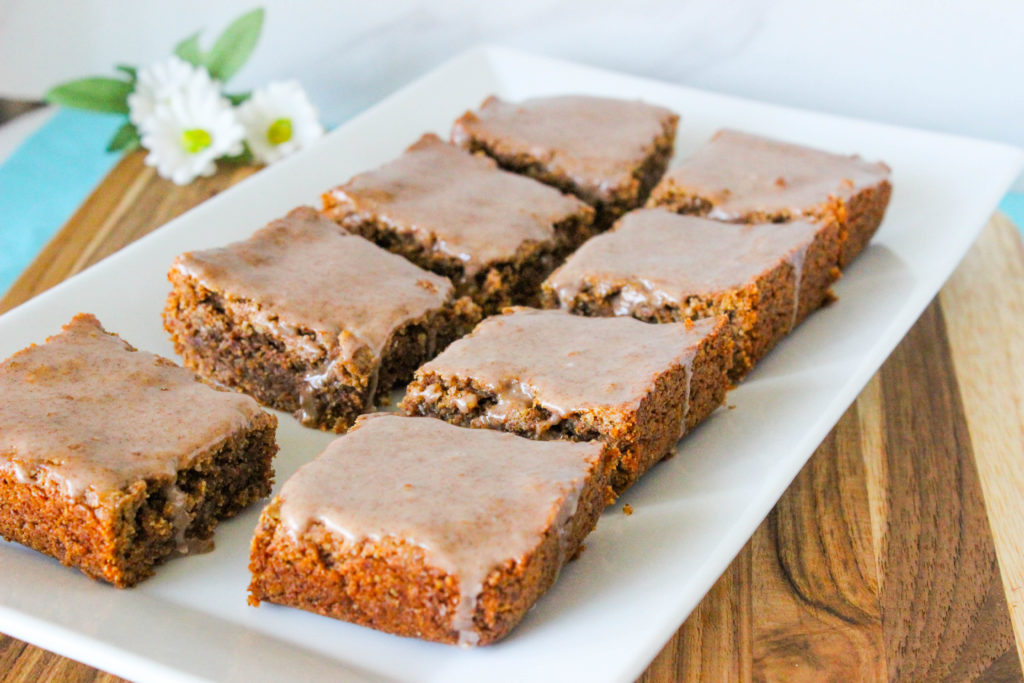 Gluten Free and Vegan Iced Cinnamon Almond Blondies