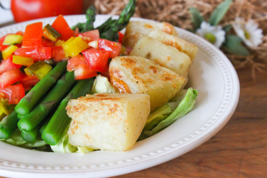 Asparagus Potato Salad with Tomato Caper Salsa