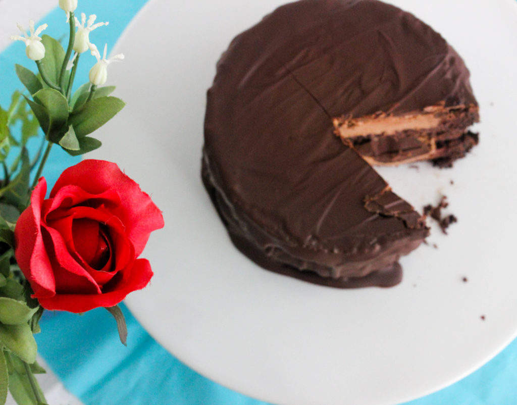 Double Chocolate Mousse Layer Cake -- a chocoholics dream!