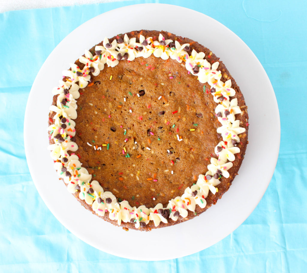 Chocolate chip funfetti cookie cake! #vegan www.goodandguiltyvegan.com