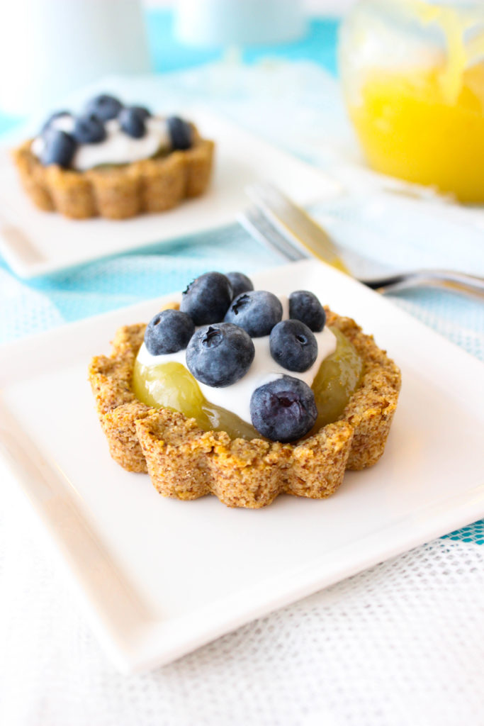 Vegan Lemon Blueberry Tartlets with an Almond Meal Crust!