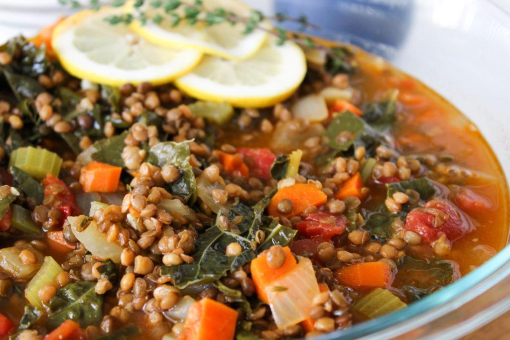 Easy lentil and kale soup