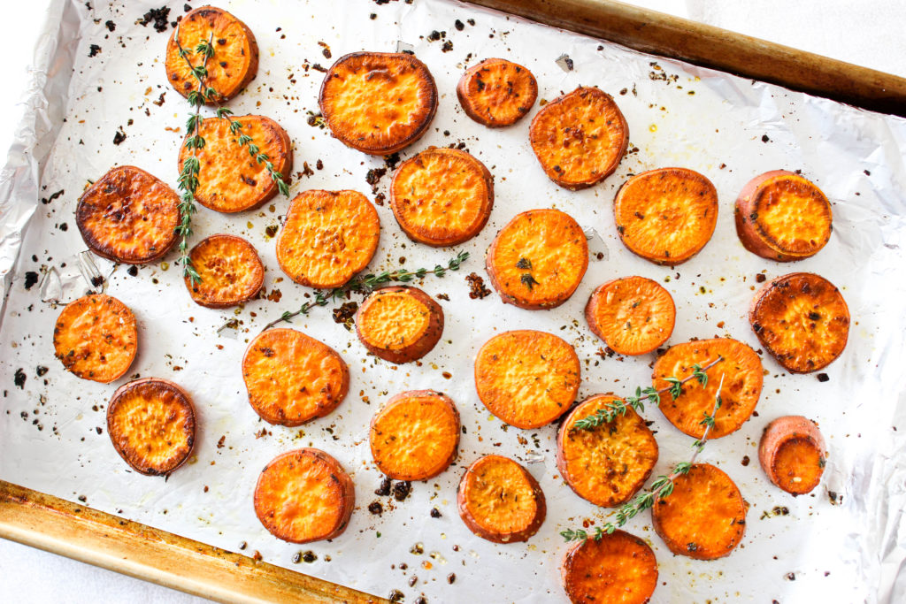 Garlic Thyme Sweet Potatoes
