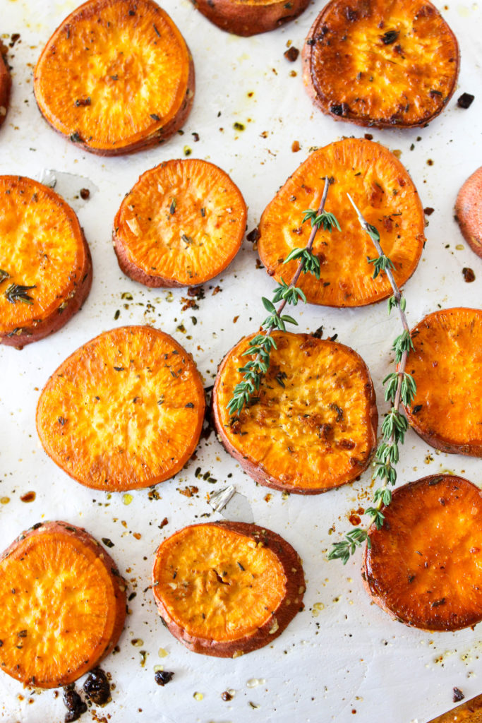 Garlic Thyme Sweet Potatoes