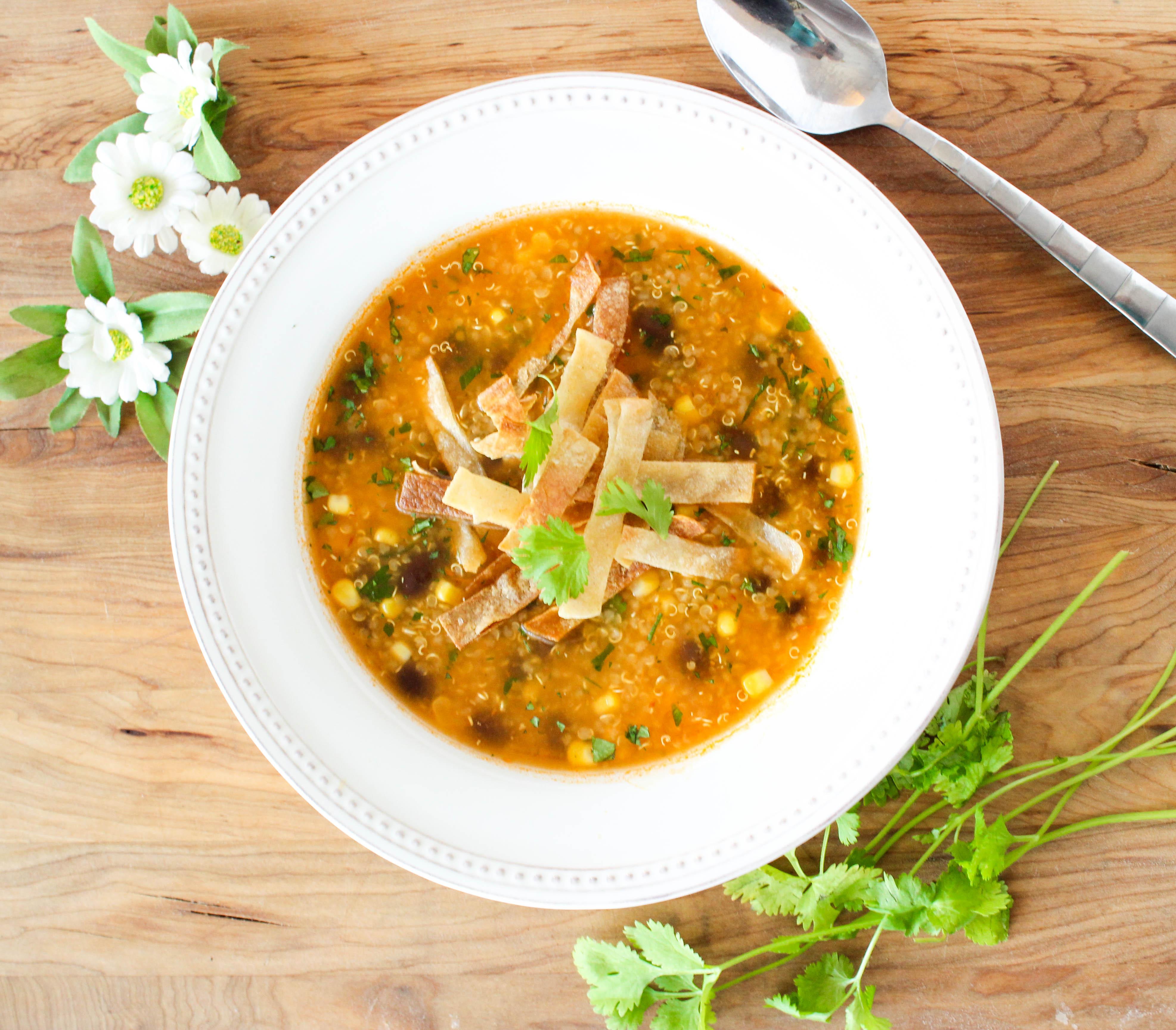 Spicy Quinoa and Black Bean Tortilla Soup - Good Habits ...