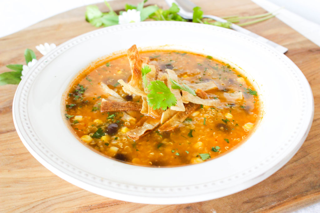 Spicy quinoa and black bean tortilla soup