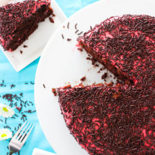 Chocolate Raspberry Sprinkles Cake