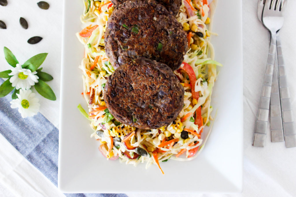 Jalapeno Black Bean Patties with Mexican Coleslaw