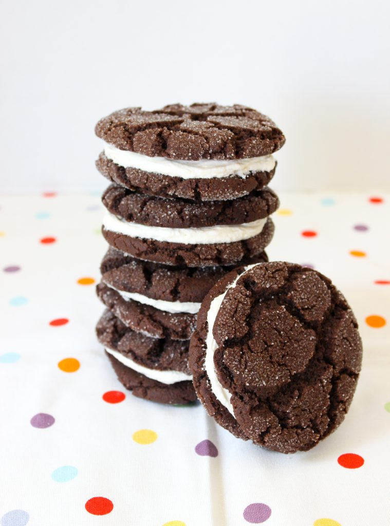 Chocolate Crinkle Sandwich Cookies
